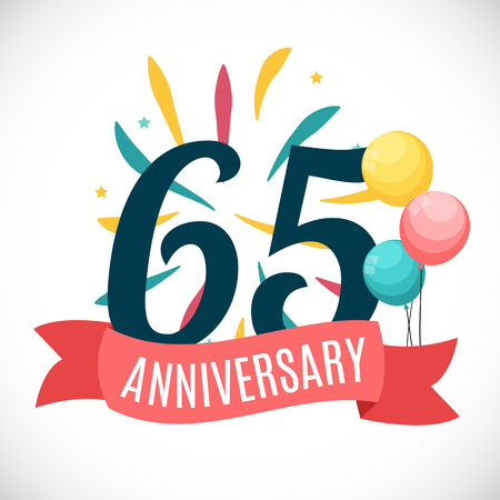Anniversary 65 Years Template with Ribbon Vector Illustration