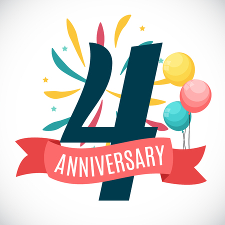 selebration: Anniversary 4 Years Template with Ribbon Vector Illustration