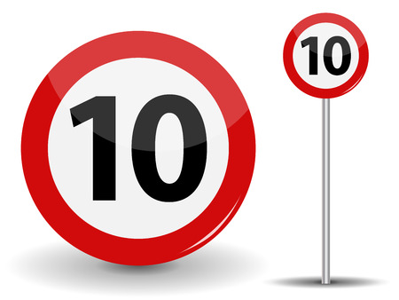 Round Red Road Sign: Speed limit 10 kilometers per hour. Vector Illustration. Stock Vector - 78457156