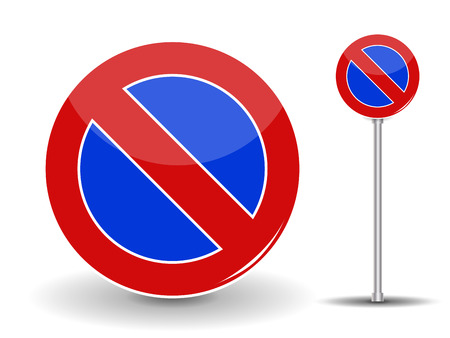 prohibiting: Prohibiting parking. Red and Blue Road Sign. Vector Illustration.