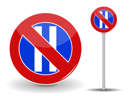 Prohibiting parking. Red and Blue Road Sign. Vector Illustration.