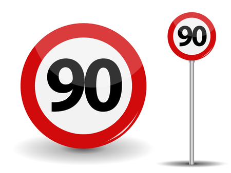 Round Red Road Sign Speed limit 90 kilometers per hour. Vector Illustration.