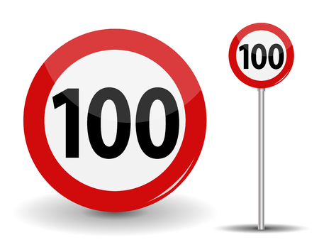 Round Red Road Sign Speed limit 100 kilometers per hour. Vector Illustration. Illustration