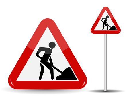 Road sign Warning Road works. In the Red Triangle a man with shovel in his hands. Vector Illustration. Illustration