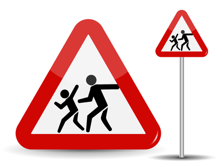 Road sign Warning Children. In the Red Triangle running kids. Vector Illustration.