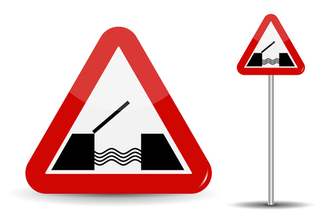 danger ahead: Road sign Warning Drawbridge. In Red Triangle are schematically depicted coast, water and bridge. Vector Illustration.