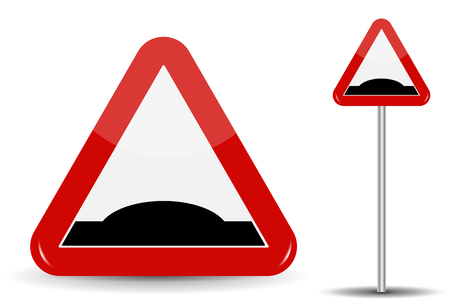 Road sign Warning Sleeping policeman. In Red Triangle is schematically depicted an artificial unevenness in the form of hillock. Vector Illustration. Illustration