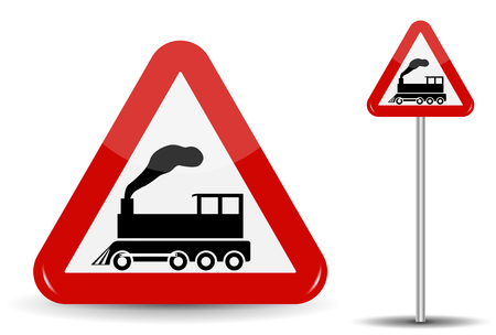 danger ahead: Road sign Warning Railway crossing without barrier. In Red Triangle is a schematic depiction of a steam locomotive in motion with smoke. Vector Illustration. Illustration