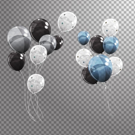 Group of Colour Glossy Helium Balloons Isolated on Transperent  Background. Set of Silver, Black, Blue, White with Confetti Balloons for Birthday, Anniversary, Celebration  Party Decorations. Vector Illustration