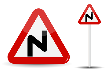 Road sign Warning Dangerous turns. In Red Triangle, a curved line is depicted schematically, denoting many turns. Vector Illustration.