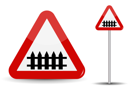 schematically: Road sign Warning railroad crossing. In Red Triangle, fence-barrier is schematically depicted. Vector Illustration.