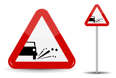 Sign Warning Emission of gravel, stones. In Red Triangle is a schematic machine, from which objects fly. Vector Illustration.