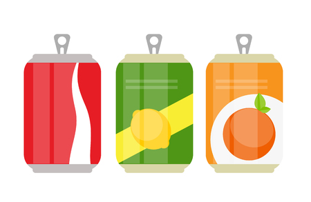 Set of Lemonade Cans Bottle Template in Modern Flat Style Isolat