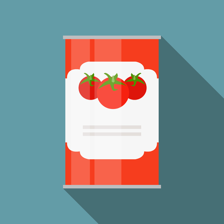 Tomato Sauce, Soup Can Template in Modern Flat Style Isolated on Ilustração