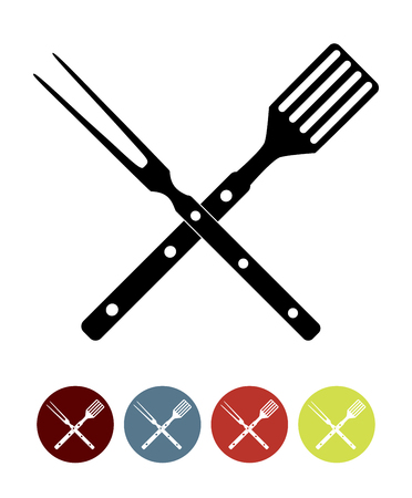 BBQ Icon with Grill Tools. Vector Illustration Illustration
