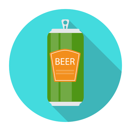 aluminium: Beer Bottle Template in Modern Flat Style Icon on White. Materia