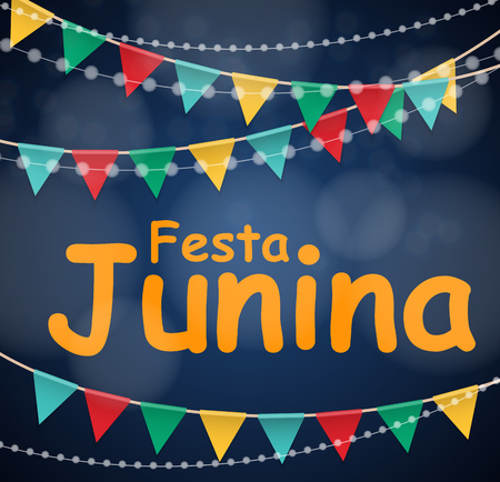 Festa Junina Holiday Background. Traditional Brazil June Festival Party. Midsummer Holiday. Vector illustration with Ribbon and Flags Vector Illustration