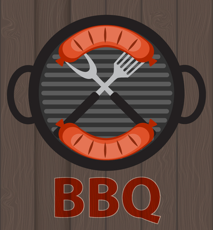 grill tongs sausage: BBQ Icon with Grill Tools and Sausage on Wooden Background. Vector Illustration EPS10