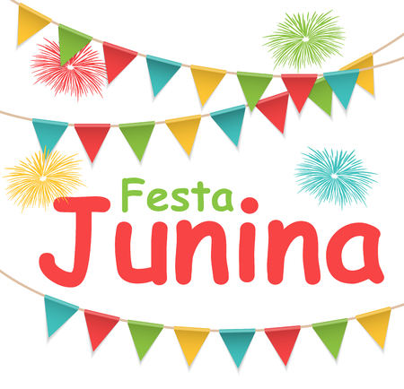 Festa Junina Holiday Background. Traditional Brazil June Festival Party. Midsummer Holiday. Vector illustration with Ribbon and Flags. EPS10 Vector Illustration