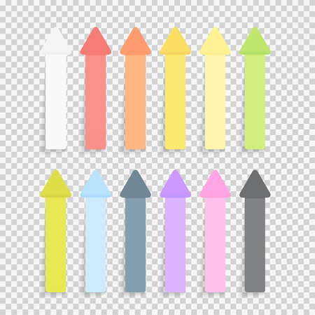 Sticky Office Paper Sheets Notes Pack Collection Set with Shadow Isolated on Transparent Background Vector Illustration Illustration