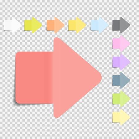 粘着性があるオフィス用紙のノートは、透明な背景のベクトル図に矢印記号パック コレクション セットの影が分離されて