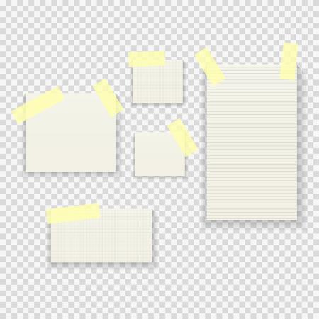 透明な背景のベクトル図に付箋紙メモ パック コレクション セット