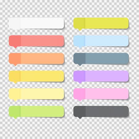 透明な背景のベクトル図に分離されたシャドウと粘着オフィス紙シート ノート パックのコレクション セット