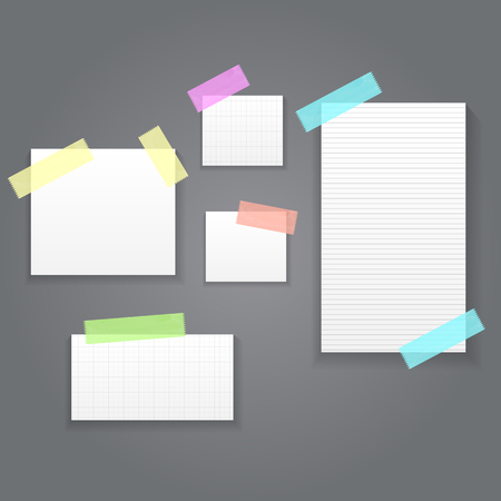 Sticky Paper Notes Pack Collection Set  Vector Illustration