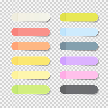 Sticky Office Paper Sheets Notes Pack Collection Set with Shadow Isolated on Transparent Background Vector Illustration Stock Photo
