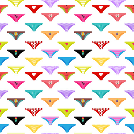 Multicolored Briefs, Pants Collection Seamless Pattern Background. Vector Illustration