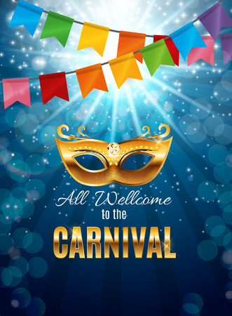 orleans symbol: Carnival Party Mask Holiday Poster Background. Vector Illustration Illustration