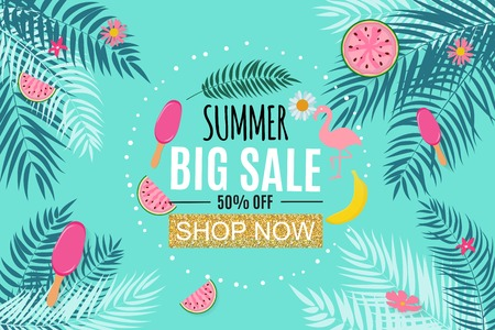 Summer Sale Abstract Banner Background Vector Illustration