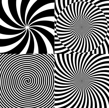 Black and White Hypnotic Psychedelic Spiral with Radial Rays, Twirl Background Collection Set Pattern. Vector Illustration Illustration