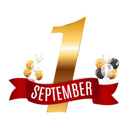 最初の 9 月 1 日テンプレート ベクトル図  イラスト・ベクター素材
