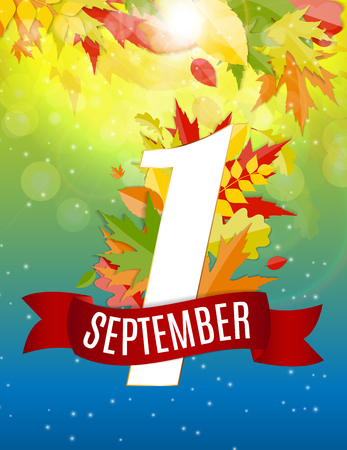 First 1 September Template Vector Illustration