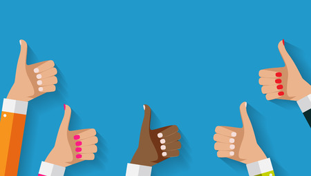 Flat Design Thumbs Up Background . Vector Illustration Stock Illustratie