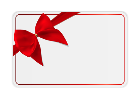 certificate template: Blank Gift Card Template with Bow and Ribbon. Vector Illustration for Your Business