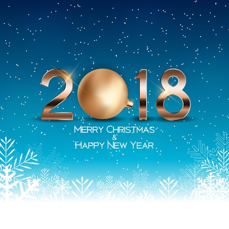 Abstract Beauty Christmas and 2018 New Year Background. Vector Illustration