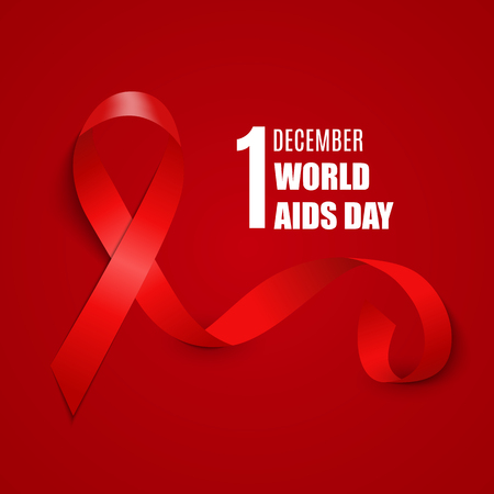 December 1 World AIDS Day Background. Red Ribbon Sign. Vector Illustration