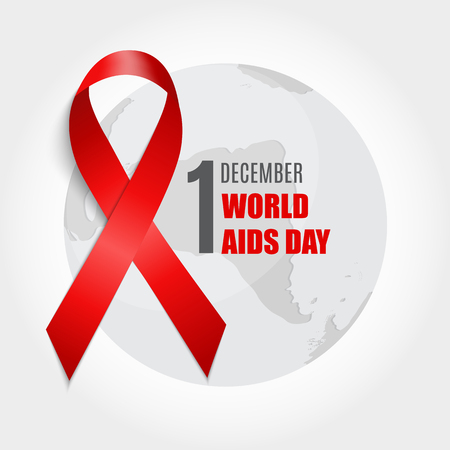 aids awareness ribbon: December 1 World AIDS Day Background. Red Ribbon Sign. Vector Illustration