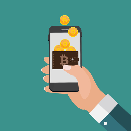 Bitcoin cryptocurrency 技術、鉱業、電子財布のモダンなデザイン コンセプト 写真素材