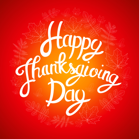 caes: Happy Thanksgiving Day Background with Shiny Autumn Natural Leaves. Vector Illustration Vectores