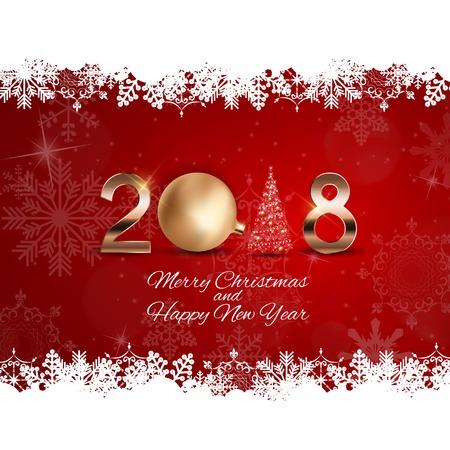 Hintergrund des neuen Jahres 2018 mit Weihnachtskugel. Vektor-Illustration Standard-Bild