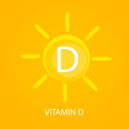 Ikona witaminy D z ilustracji wektorowych słońca