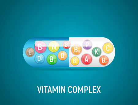 Vitamin and Antioxidant Complex. Vector Illustration