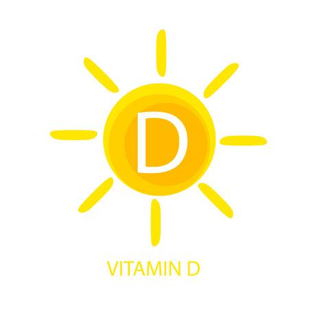 Icona di vitamina D con illustrazione vettoriale di sole