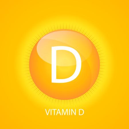 Vitamin D Icon with Sun Vector Illustration