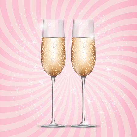 Glass of Champagne on Pink Background. Vector Illustration. Stock Photo