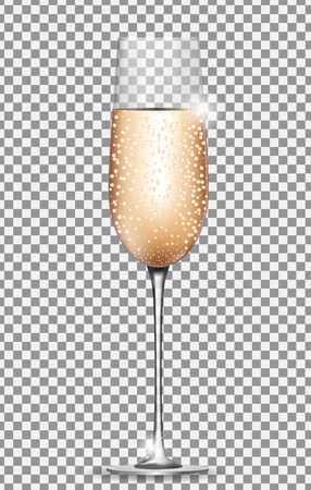 Glass of Champagne on on Transparent Background. Vector Illustration Stock Photo