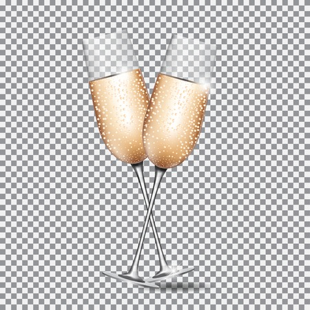 Glass of Champagne on Transparent Background Vector Illustration